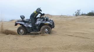 ATV Ride through the steppe, sand and terrain