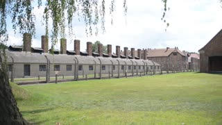 Auschwitz Concentration Camp - barracks and barbed wire