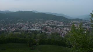 Bergamo, Italy - panorama video by night