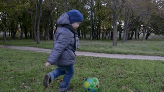 Boy, Child, Kid Playing Soccer, Football In Park, Ball