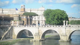 Bridge Sant'Angelo. Rome, Italy - People tourists go to Castel