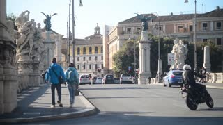 Bridge Vittorio Emanuele II. Rome, Italy - People and traffic