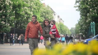 Bulgaria Sofia city center - people walking on the street