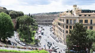 Central part of Rome Italy - Traffic and pedestrian along the street