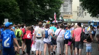 Croud of Pedestrians on the streets of Krakow Old Town - World Youth Days