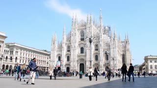 Duomo In Milan Spring - The Crowds Of Tourists Walk On The Square