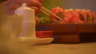 Eating Sushi At Home. Close Up Detail.