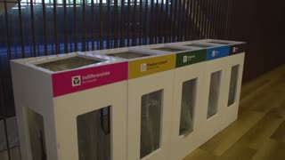 Expo Milano 2015. The separation of garbage waste in plastic, paper, metal, food