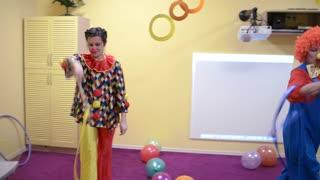 Funny Clowns playing in Preschool Kindergarden