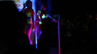 Girls ass naked go-go dancers PJ in a disco near the nightclub