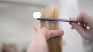 Hairdresser stylist combing blonde hair tips
