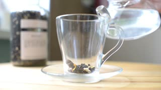 in a cup of tea leaves is poured boiling water