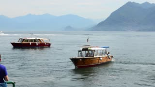 Lake Lago Maggiore Italy boats on the water taxi out