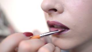 Make Up Artist And Beautiful Model Brunette On Set