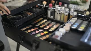 Make-up artist closes the case with a great makeup , choose the desired palette