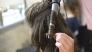 Make Up Hairstyle Artist And Beautiful Model Brunette - hair curling iron