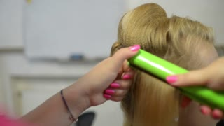 Make Up Hairstyle Artist Hair Iron And Beautiful Model Blonde