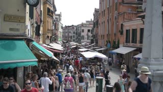 Market Street and Shops of Venice. People walk along the cafes and souvenir shops