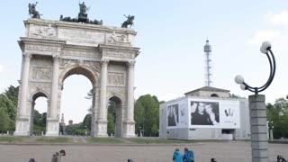 Milan, Arco Della Pace, Parco Sempione - spring sunny day