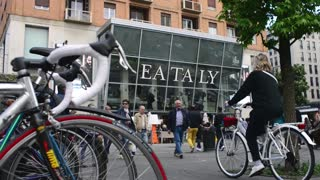 Milan business center city - Eataly shop - Bicycles and pedestrians