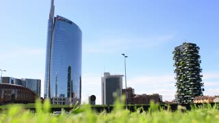 Milan business center of the city - skyscrapers and traffic