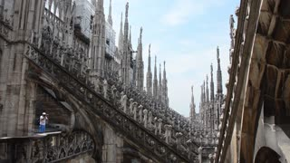 Milan cathedral spiers of the Duomo. View from the roof of Duomo