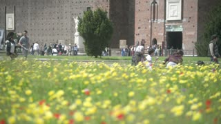 Milan, Italy - Castle Sforzesco - pedestrian walking by spring flowers blooming