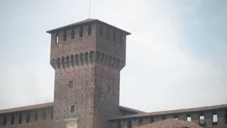 Milan, Italy - Castle Sforzesco - wall and Tower