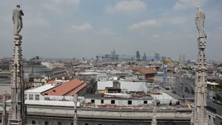 Milan Italy modern city - view from the roof of the Duomo
