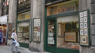 Milan, Italy,day street life - Showcases art gallery