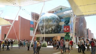Milano Expo 2015 Pavilion of Azerbaijan. People walk on the campus