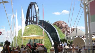 Milano Expo 2015 Pavilion of Belarus Installation. Visitor walk along the campus