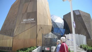 Milano Expo 2015 Pavilion of Belgium. Visitor walking along the campus