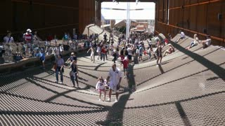 Milano Expo 2015 Pavilion of Brazil. Visitor walking along the tight net