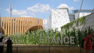 Milano Expo 2015 Pavilion of France. Visitor walk along the campus