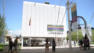Milano Expo 2015 Pavilion of Lithuania. Visitor walk along the campus
