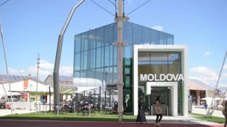 Milano Expo 2015 Pavilion of Moldova Installation. Visitor walk along the campus