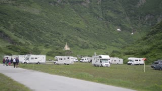 Motorhome parked in the mountains Italian Alps