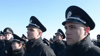 New National Police of Ukraine - patrol take oath