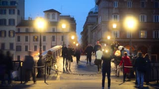 Night life of Rome, Italy - time laps video - people and traffic