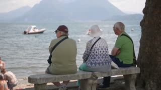 old people retired to rest admiring the lake and the Alps