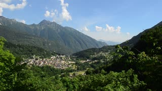 Panorama of old town in the Italian alps