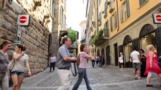 Pedestrian walking The streets of central old town Bergamo