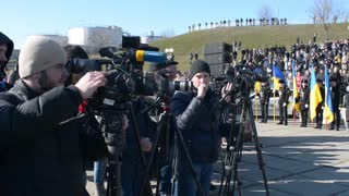 photo and video operators with cameras in