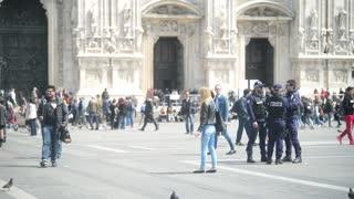 Police on Duomo Square in Milan