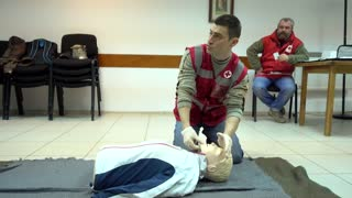 Rates of first aid from the Red Cross - chest compressions On A Mannequin First Help