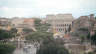Rome Antique Site - Panorama - Forum Ancient, Coliseum, Columns Temple Of Apollo