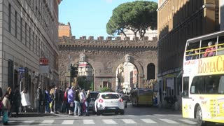 Rome, Italy. A crowd of people on the Conciliazione street of the old town