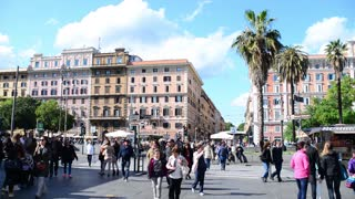 Rome, Italy. A crowd of people on the streets of the old town
