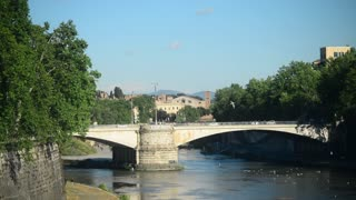 Rome, Italy - ancient bridge over the Tiber river